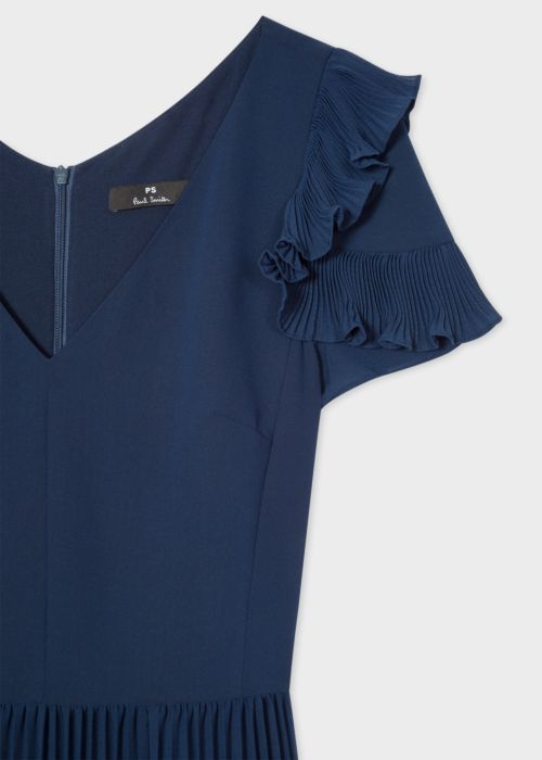 Jane-young-paul-smith-Navy-Pleated-Short-Sleeve-Midi-Dress-With-Ruffle-detail
