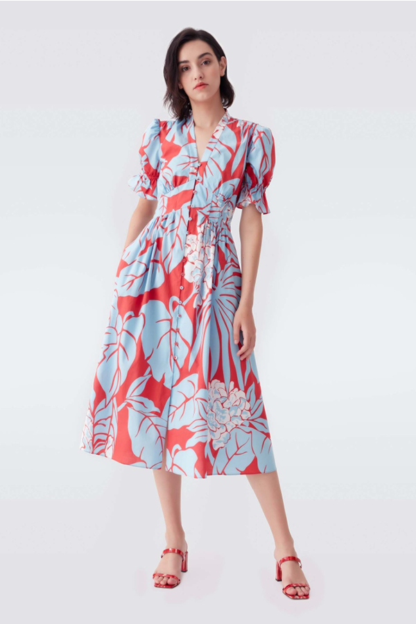 Jane-Young-Wedding-guest DVF Palm Print