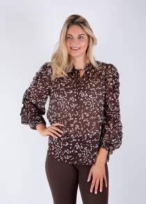 Jane Young Riani patterned brown blouse