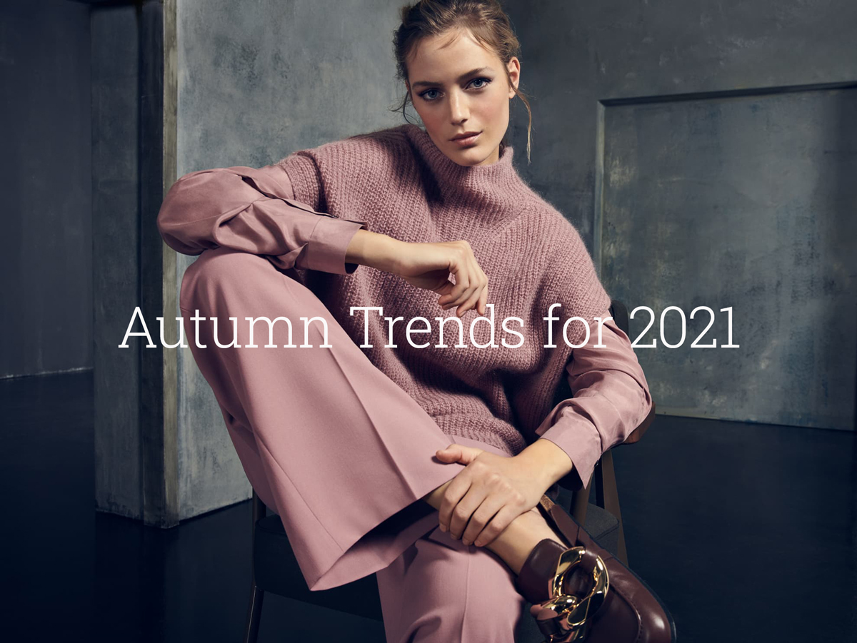 Jane young, trends for Autumn, model wearing a dusty pink outfit by Luisa Cerano