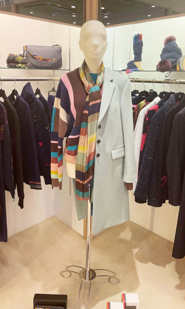 PS Paul Smith at Jane Young grey coat over a striped jumper