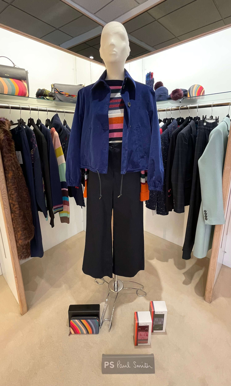 PS Paul Smith at Jane young, blue jacket, cropped trousers and striped top